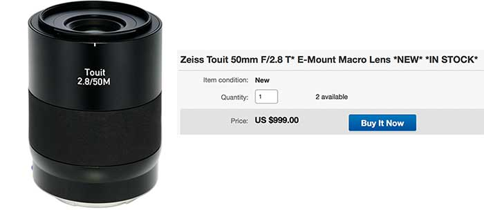 Zeiss Touit macro lens finally in Stock in US  First Loxia in Stock