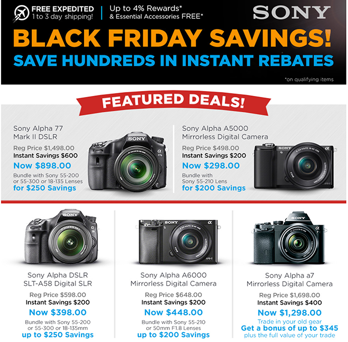 b654e97346e The best Sony deal overview page is from Adorama Sony camera deals (Click  here) and Adorama Sony Lens deals (Click here).