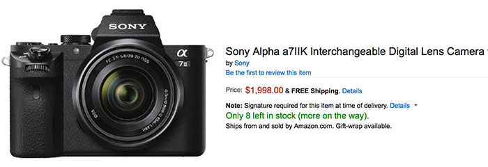 Sony A7II now in Stock at Amazon, BH, Digitalrev and Sony