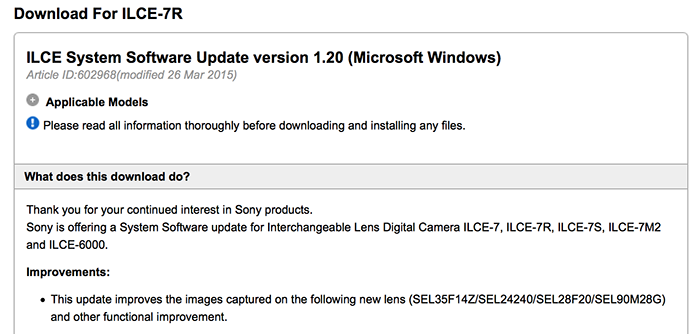Sony releases firmware update for A7/r/s and A6000 cameras