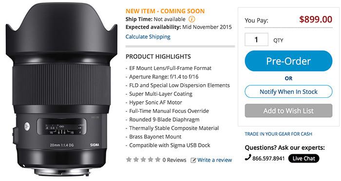 World\'s widest f/1.4 got announced! The Sigma 20mm f/1.4 ART ...