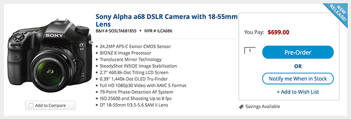 Sony A68 Will Ship On May 19 In Usa Deal Reminder A7rii For 2499
