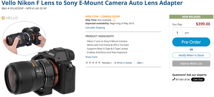 Vello Nikon F to Sony E-mount autofocus adapter will ship in May ...