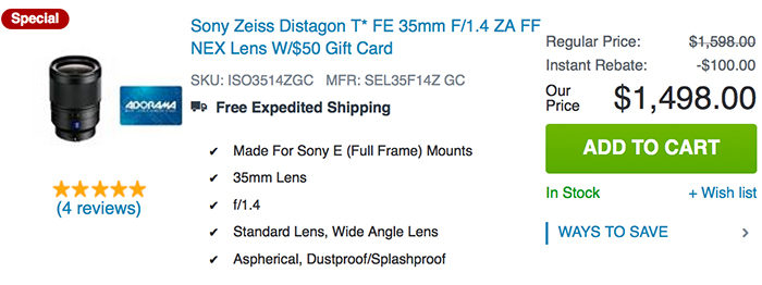 Up To 100 Free Gift Card On Sony Fe Lenses Sold By Adorama