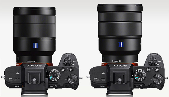 sony 24 70 f4. on left the 24-70mm f/4.0 and right 16-35mm lens (via camerasize). sony 24 70 f4 o