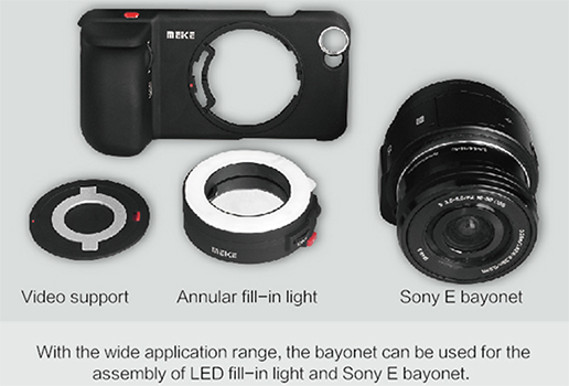 sony qx. meike launched the new mk-h6s pro case for iphone 6 smartphones. it takes three lenses and also offers a mount sony qx1 e-mount \u201clens-camera\u201d. qx