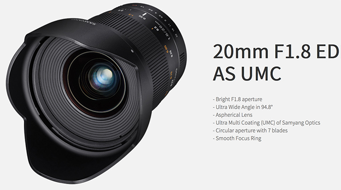 the korean company samyang just announced a new full frame lens its the 20mm f18 which will be available in native sony a and native sony e mount