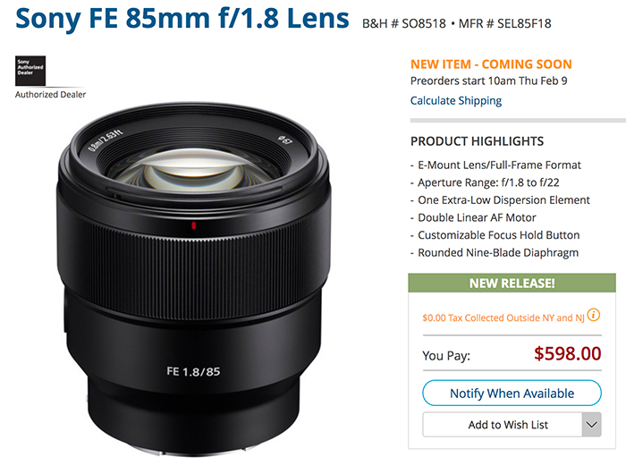 Sony Introduces 100mm F2.8 STF G Master, Full-frame 85mm F1.8 and ...