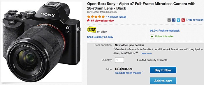 Open Box Sony A7 with kit lens for $934 at BestBuy - sonyalpharumors ...