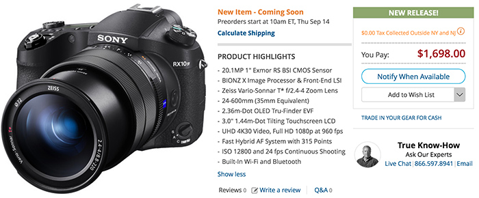 Sony announces the new RX10m4  E-mount announcement in