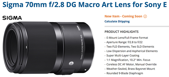 SR5) Sigma 70mm FE macro will be priced at 90,000 YEN ...