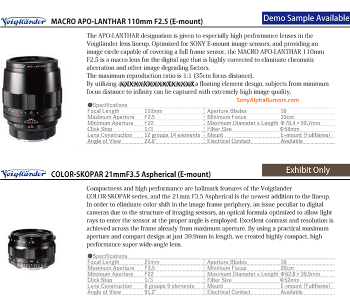 Voigtlander announces two new E-mount lenses: 110mm f/2 5 macro and