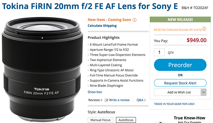 Tokina FiRIN 20mm f/2 FE AF now available for preorder at BHphoto ...