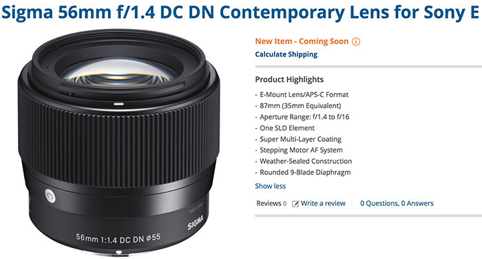 New Sigma 56mm f/1.4 E and 40mm f/1.4 FE will be released on November 22