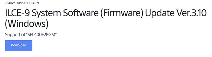 Sony A9 firmware update 3 10 released - sonyalpharumors