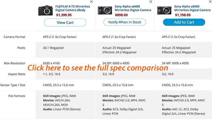 Sony A6400 vs A6500 vs Fuji X-T3 spec comparison