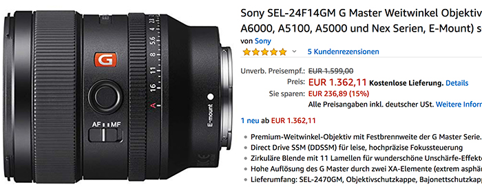 25daebec8f924 Hurry up Europeans: You get a 240 Euro discount on the 24mm f/1.4 GM ...