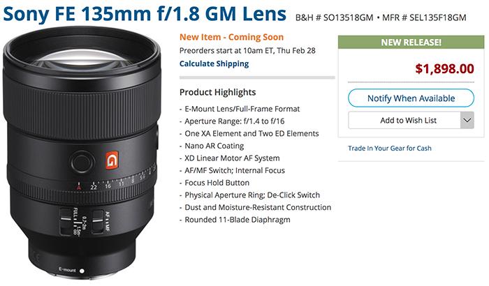 Sony announced the new 135mm f/1 8 GM - mirrorlessrumors