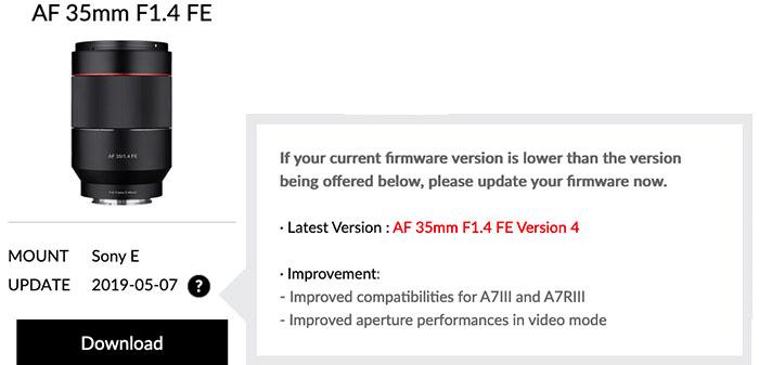 New firmware update for the Samyang 35mm f/1.4 FE lens