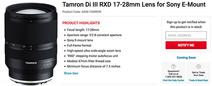 For Sony E-mount folks: Tamron 17-28mm f/2 8 pricing info this week