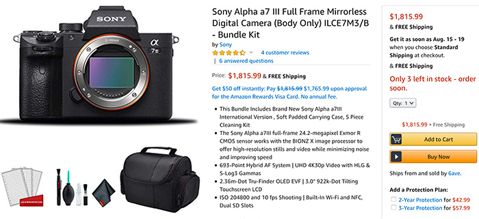 This Sony A7III kit sells for $1,815 on Amazon (but seller