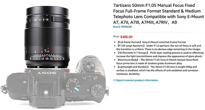 New 7artisans Photoelectric 50mm f/1.05 for Sony FE is now in Stock at Amazon US/Europe