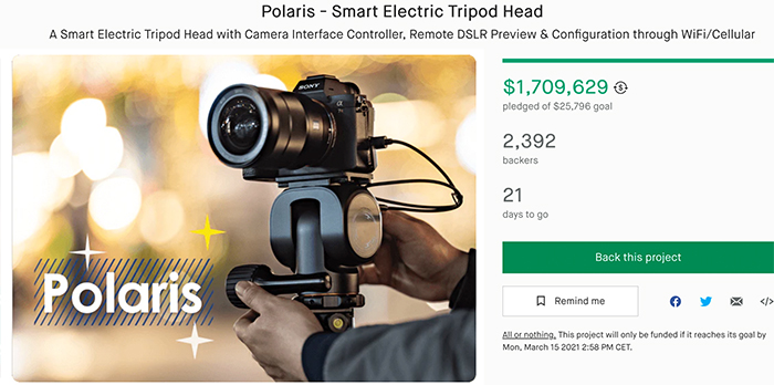 This Smart Electric Tripod Head from BENRO raised nearly TWO million dollars(!!!) on Kickstarter