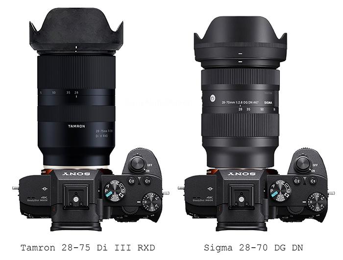 Sigma 28-70mm f/2.8 vs Tamron 28-75mm f/2.8 FE size comparison