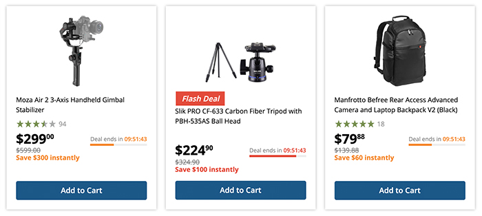 BHphoto deal of the day on Moza Air and Manfrotto Befree