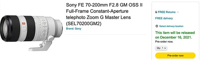 lens Sony 70 200mm GM II